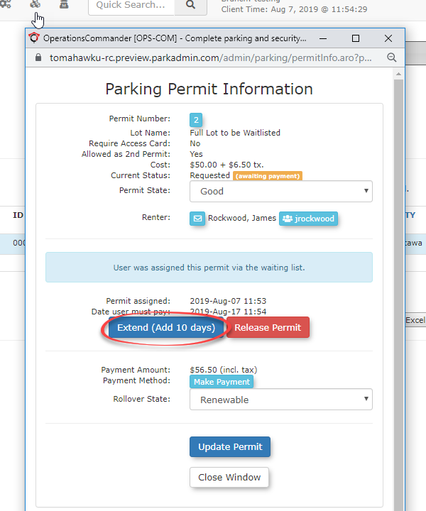 Image displaying how to extend a wait list parking permit