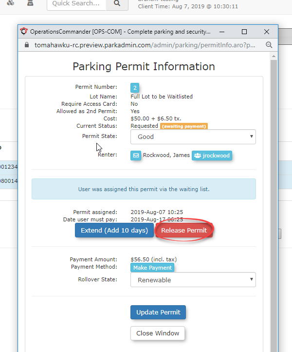 Image displaying how to release a wait list parking permit