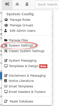 Image displaying how to get to the system settings page