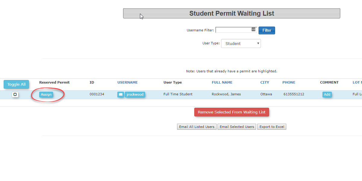 Image displaying how to assign a permit to a user on the wait list
