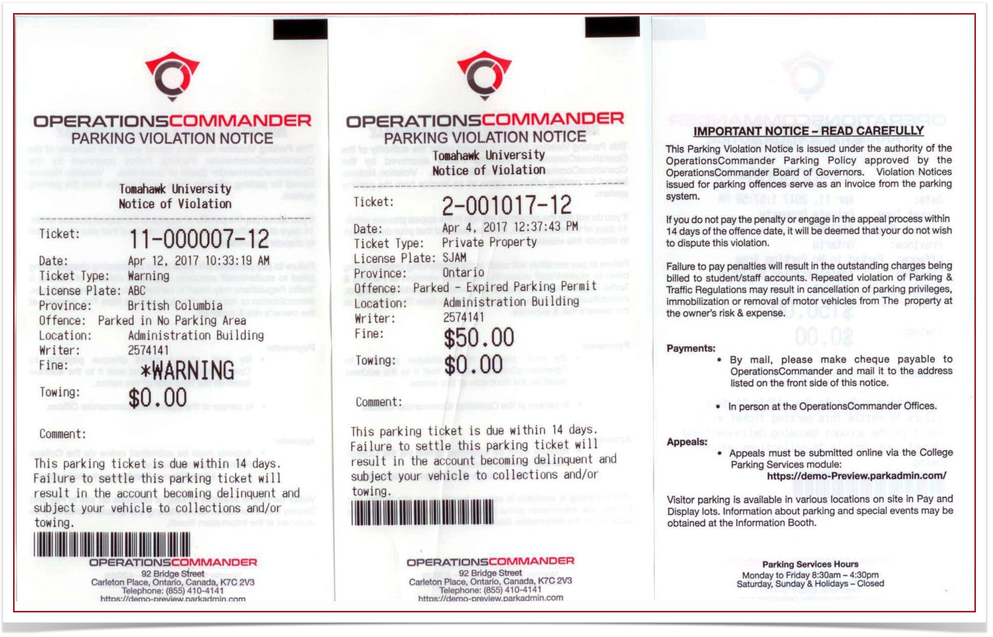 sample ticket warning with explanations ops com parking security