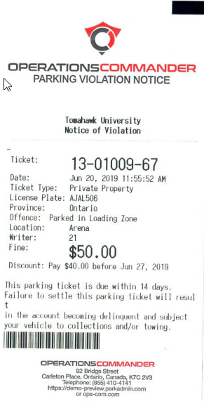 Image displaying a printed violation from the handheld