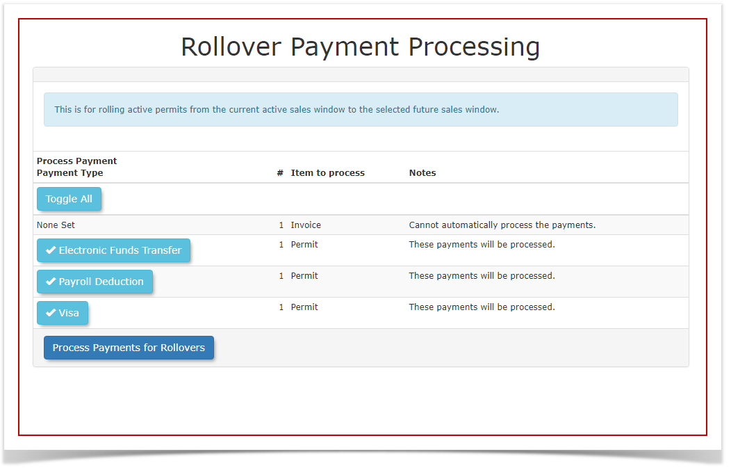 Rollover: Auto Selection and Automatically Processing