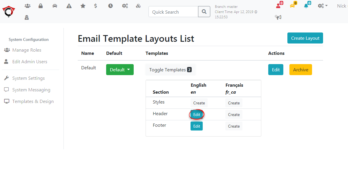 Image displaying the location of the Email Template Edit Button