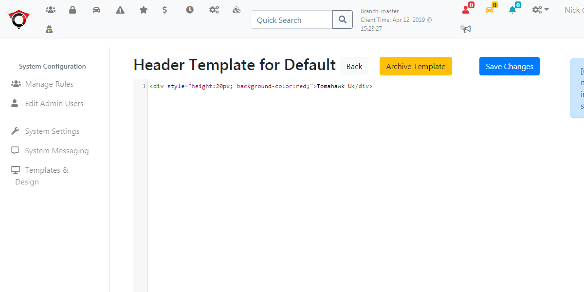 Image displaying the default header template