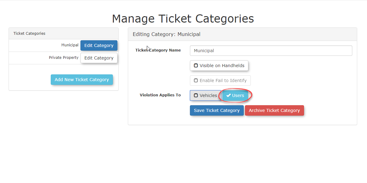 Image displaying the Manage Ticket Categories