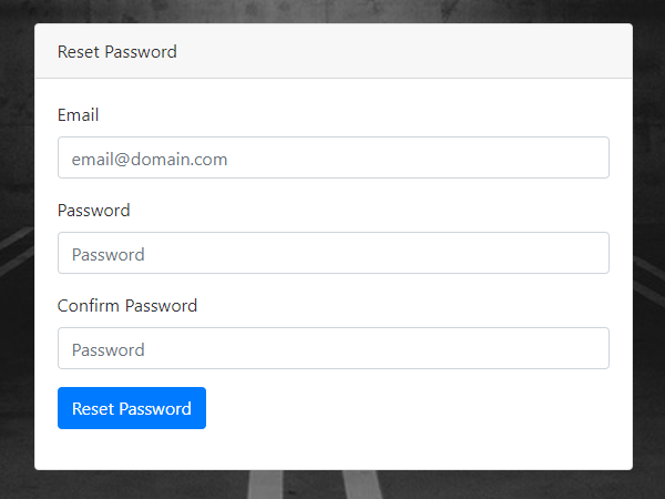 An image that displays the password reset screen.